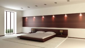 Floating Bed Design Applied in Mens Bedroom Ideas Made from Wooden Material with Wooden Wall Panel Idea